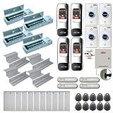 Visionis FPC-7707 Four Doors Access Control Electromagnetic Lock for Inswinging Door 1200lbs TCP/IP Wiegand Controller Box, Indoor + Outdoor Fingerprint/Card Reader, Software, 10000 User, PIR Kit
