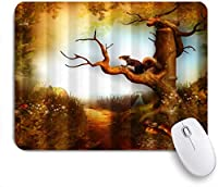 Yaoni ゲーミング マウスパッド,リスとツリー,マウスパッド レーザー&光学マウス対応 マウスパッド おしゃれ ゲームおよびオフィス用 滑り止め 防水 PC ラップトップ