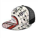 Inaayayi Gorra de béisbol Jukebox Vieja Radio Vintage Notas de música Sombrero de Malla para Camionero Gorras de béisbol Planas para Hombres y Mujeres con Tirantes Ajustables Negro