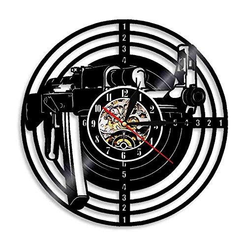 Liushenmeng Reloj de Pared de Vinilo Rifle de Francotirador Reloj Disco de Vinilo Decor Art Vinilo Reloj decoración única Hecha a Mano decoración Idea de Regalo Creativo Vinilo diámetro 30 cm