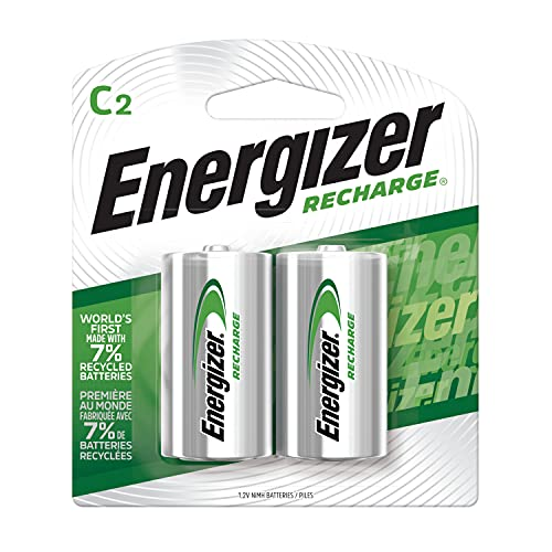 Energizer NH35BP-2 Precharged Recharg Battery, C, NiMh, PK2 Lighting, 2 Count (Pack of 1), Green and Silver