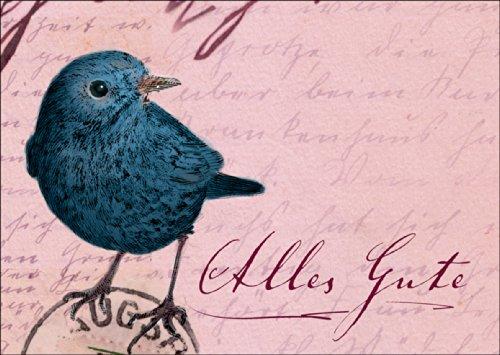 Schitterende, nostalgische vintage wenskaart met vogel om alles goed te wensen • ook voor direct verzenden met uw persoonlijke tekst als inlegger. • Mooie hoogwaardige wenskaart met envelop voor mooie groeten