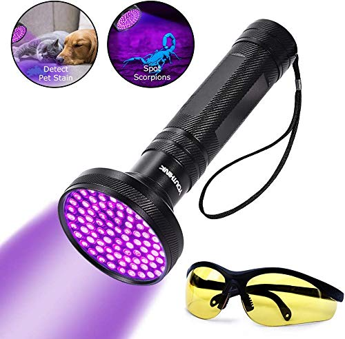 YOUTHINK UV Flashlight Blacklight Ultraviolet Black Light, UV Torch Detector with Glasses, Detecting Scorpion Dog and Cat Urine Stains (100 LEDs New Version)