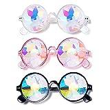 Gafas de Lentes Multicolores, 3 Piezas Gafas de Sol Redondas con Lentes de Cristal, Gafas Steampunk, Gafas de Fiesta Dance Rave Festival, para Vacaciones