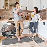 Delxo Gray Kitchen Rug Set 2 Piece Non Slip Soft Super Absorbent Runner Rug Kitchen Mat Chenille...