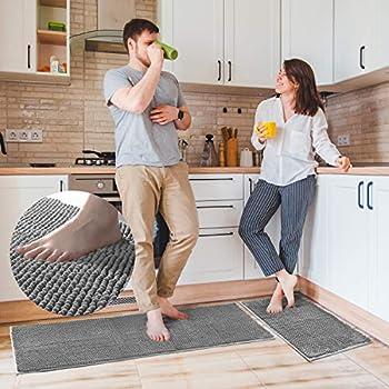 Delxo Kitchen Rug Sets,2 Piece Non-Slip Soft Super Absorbent Kitchen Mat Doormat Carpet Set,Chenille Microfiber Material 17 x48  +17 x24   Grey