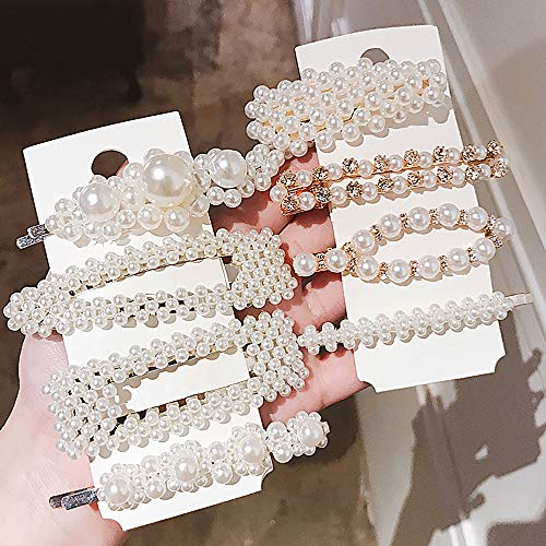 Pearl Hair Clips For Women Girls 8 Pieces Fashion Artificial Clips Pearl Barrettes Bling Snap Hair Pins Decorative Hair Accessories for Party Wedding Daily Vintage Style Hair Clips