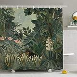 JoneAJ Henry Postimpressionist Maler Rousseau Alter Äquatorial Dschungel Smaragdgrün 1909 wurde Französisch Mikrofaser Badezimmer Duschvorhang Polyester-Stoff 71x71 Zoll