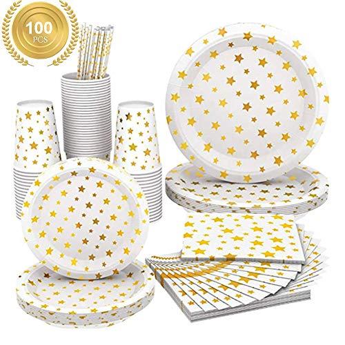 Yppss, set da tavola usa e getta, 100 pezzi, biodegradabili ed ecologici, piatti di carta, bicchieri di carta, tovaglioli di carta e cannucce di carta, con stelle dorate