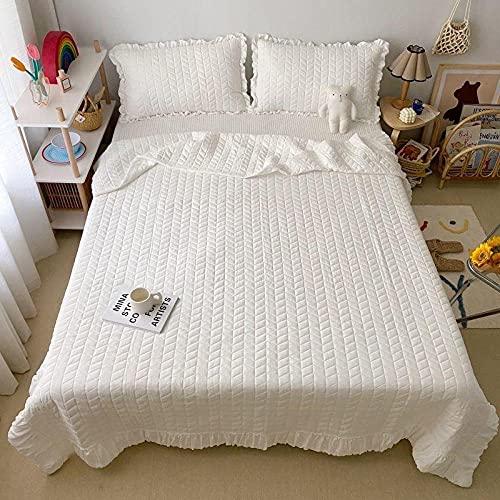 QXXKJDS Funda de algodón suave y ligera con diseño de diamante, colcha acolchada de verano, fundas de almohada para el hogar (color: blanco, tamaño: 200 x 230 cm, 3 unidades)