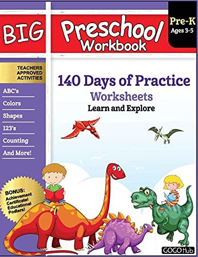 Big Preschool Workbook: Ages 2-5, 140+ Worksheets of PreK Learning Activities, Fun Homeschool Curriculum, Help Pre K Kids Math, Counting, Alphabet, Colors, Size & Shape, 2-4 Dinosaur Kindergarten