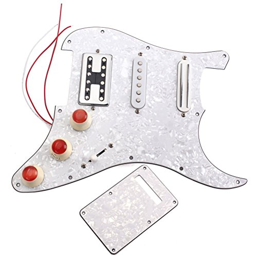 Healifty Set de Golpeador 3 ply White Pearl SSH precableado Pickguard Scratch Plate Single Coil Alnico 5 y Humbucker Magnet Pickups Set de montaje para Fender ST/Strat Electric Guitar (Blanco)