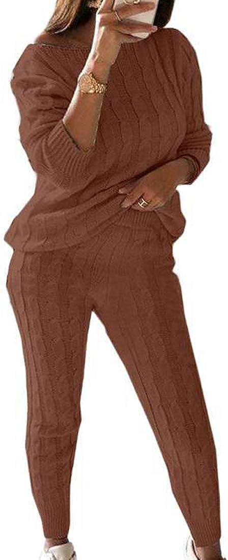 Womens Knit 2 Piece Outfits Sweater Off Shoulder Top Pants Casual Jumpsuit Romper Plus Size Fall Suits Set S-3XL