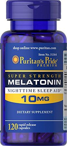 Puritan's Pride Super Strength Rapid Release Capsules Melatonin 10 Mg