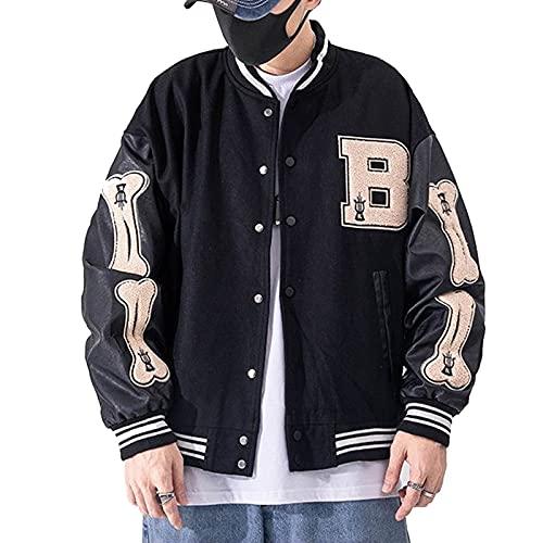 Moshtashio Herren College Jacke Baseballjacke Unisex Mode Sportjacke Sweatjacke Urban Stehkragen Streetwear (Schwarz, M)