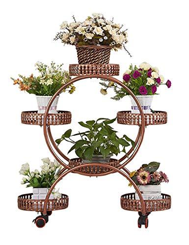 AJZGFStand d'extérieur pour plantes d'intérieur Jardinière en métal à roulettes, rayonnage à fleurs, décoration de balcon intérieur, fer forgé, jardinière