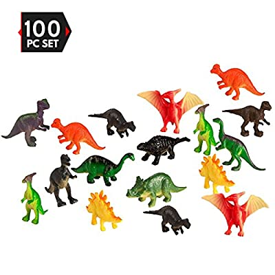 100 Piece Party Pack Mini Dinosaurs - Plastic Mini Educational Dinosaur Animal Toys - Fun Gift Party from Big Mo's Toys