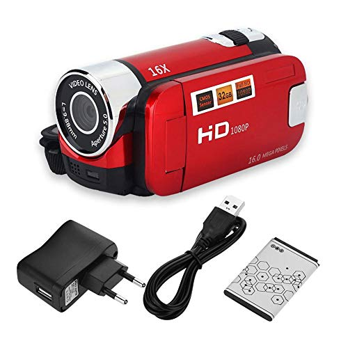 Caméscope Appareil photo numérique Full HD Rotation 270 ° 1080P 16X Caméscope Numérique Caméra vidéo DV(EU-RED)