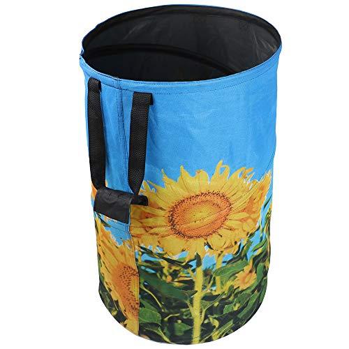 FLORA GUARD 120L Gartensack - WiederVerwendbarer Falt Gartenabfallsäcke, Sonnenblume-Druck Leinwand tragbare Gartenabfallsack