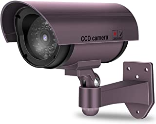 ダミーCCTVカメラ ダミーカメラ 赤色LED点滅ライト付き屋外屋内偽監視カメラ ソーラーパネル搭載 セキュリティステッカー付 防犯カメラ 監視カメラ 不審犯/防犯対応 赤外線ledライト 赤LED点滅ライト常時点滅 偽装 屋内屋外(紫)