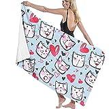 Abel Berth Gato con Amor Toalla de Playa para Mujer Ducha de SPA Toalla Absorbente de Secado rápido Manta Ligera para Bata de baño - Blanco
