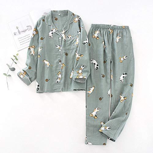 WENHUA Nuevo 100% algodón de Manga Larga con diseño de Gato para Mujer, Conjunto de Pijamas de Dibujos Animados Lindos, Pijamas Largos Simples japoneses, Servicio a Domicilio para Mujeres-Green_M