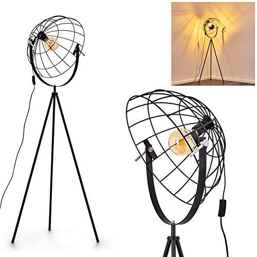 Lampadaire Saturn, luminaire vintage en métal avec abat-jour grillagé de 42 cm et réflecteur de diamètre pour ampoule E27, max. 60 Watt, compatible ampoules LED