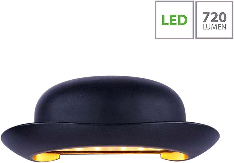 12W Outdoor LED Wandleuchte Auen, Stilvoll Hut-Design Abwrts Wandlaterne, Schwarze Metall Aluminium Auenlampe, IP 54 Wasserdichte Gartenlampe, Heller LED-Strahler - Warm Licht 3000k