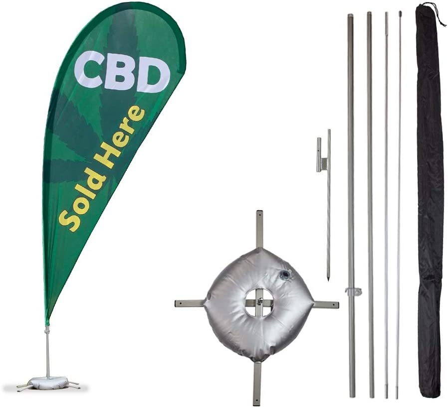 Vispronet - CBD Feather Flag Kits - 11ft Flag Complete Pole Set, Ground Stake, Cross Base and Weight Bag – Great for Businesses, Storefronts, Sales - Printed in The USA