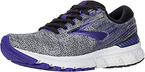 Brooks Womens Adrenaline GTS 19 Running Shoe - Black/Purple/Grey - B - 8.5