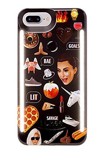 LuMee Duo Selfie LED Case for iPhone 8 Plus/7 Plus - Kimoji Multi/Black