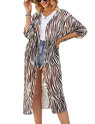 Chunoy Women Casual Loose Lightweight Long Chiffon Open Front Kimono Cardigan Half Sleeve Beach Wear Cover Up Zebra Brown X-Large