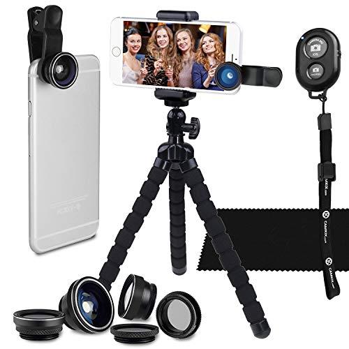 Juego de Fotografia Telefono Inteligente - Tripode Flexible para Telefono Celular, Bluetooth Control Remoto Obturador de Camara y Juego de Lentes 5 en 1 - Pulpo Universal - Lente Telefoto