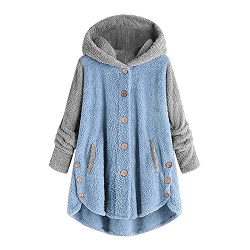 Fleece Jacket for Women Faux Fur Coats Pullover Hooded Button Hoodie Sweatshirt Cat Ear Outwear Pocket