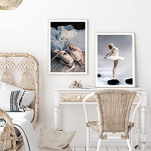 UHYGT Rosa Ballerina Schuhe Poster Nordic Wandkunst Mädchen Leinwand Malerei Ballett Drucke modernes Bild Wohnzimmer Mode Dekoration 40x60cmx2 Kein Rahmen