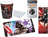TRENDHAUS Star Wars Darth Vader 4-teiliges Geschenke Set - Frühstücks-/Schneide-Brettchen + 3D Trinkbecher + Textil Haftpin + 3D Lesezeichen