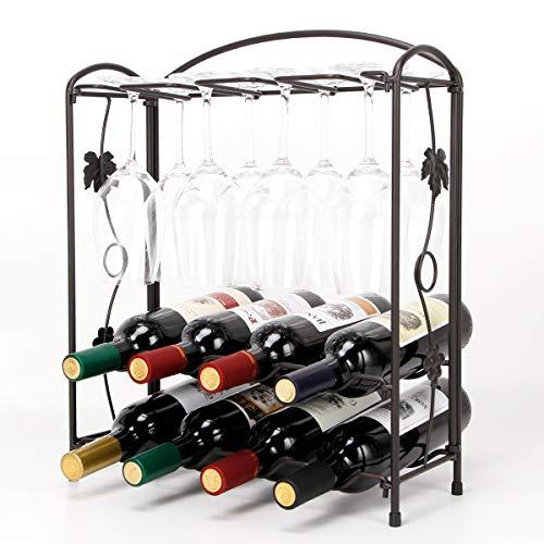 HoroM - Soporte para copas de vino de mesa plegable para 4 o 8 botellas y 8 copas de vino, fácil montaje