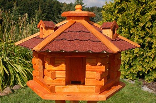 Vogelhaus Futterhaus Vogelvilla mit Solarbeleuchtung und Silo klein und Groß V16 (Rot, groß), Vogelfutterhaus