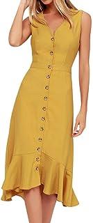 Womens Solid Color V-Neck Sleeveless Row Button Ruffled Hem Dress, Ladies Flattering Casual Summer Dress Beach Button Down Midi Sundresses (M, Yellow)