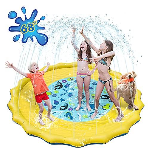 WOLFWILL Sprinkle and Splash, tappetino da gioco ad acqua, 170 cm, gonfiabile, antiscivolo, estivo, per giochi da giardino, gioco per bambini
