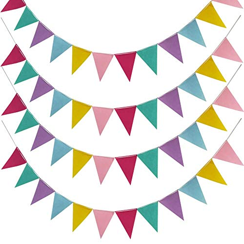 Ealicere 4er Pack 4.5M Wimpelkette Dreieck Flaggen Nachgeahmt Sackleinen Wimpel Banner,12 Farben jedes Banner, Wimpel für Hochzeit Party Hängende Geburtstagsfeier Dekoration Indoor Outdoor