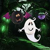 ZTH 3 PCS/Set Creativo Divertido Halloween Fantasma Murciélagos Araña Colgante Papel Decoración y Accesorios Horror