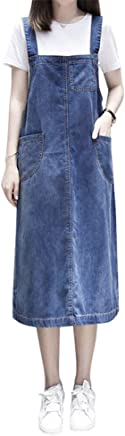 0cf3186554b Aimeely Women Loose Casual Denim Overall Dress Suspender Jumper Jean Skirt  Plus Size