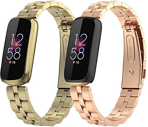 Gransho Correa de Repuesto para Reloj Compatible con Fitbit Luxe/Luxe Special Edition de Acero Inoxidable, Correa de muñeca Grande Deportiva (Pattern 1+Pattern 2)