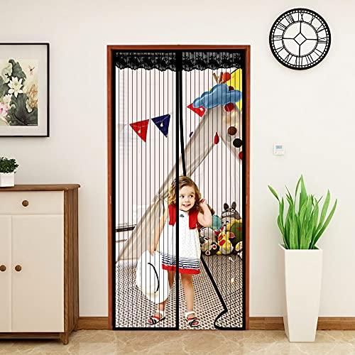 Magnetische Fliegengitter Balkontür - Für alle Türen bis zu 90 x 210 cm - Verstärkte Vollrahmenhaken-Glasfaser-Insektenschutz Vorhang mit 32 Magneten