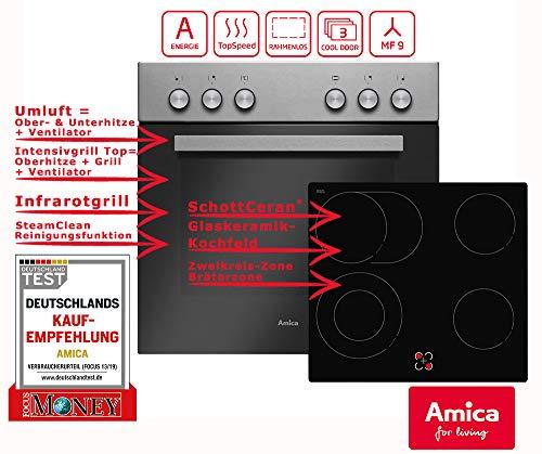 Amica EHC 933 031 E Einbauherd-Set mit Glaskeramik-Kochfeld, SCHOTT CERAN® - Edelstahl