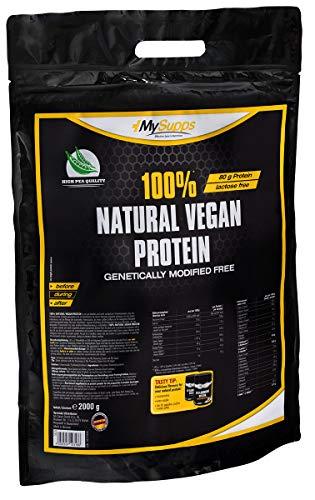 MySupps- 100% Natural Vegan Protein, hochwertiges & veganes Erbsenprotein, 80g Eiweiß + 15g BCAA pro 100g, komplexes Aminosäureprofil für Sportler, GMO-Free- Made in Germany- 2kg Pulver