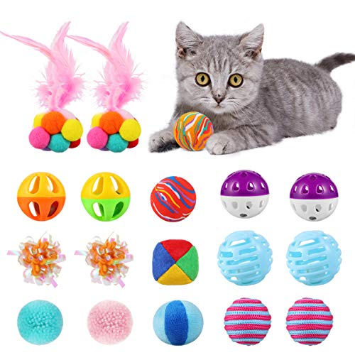 POPETPOP 18PCS Cat Toy Balls - Cat Kitten Color Play Ball Set with Knitted Balls, Feather Balls, Crinkle Balls, Pompon Balls, Jingle Bell Balls