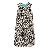 Posh Peanut Baby Wearable Blanket - Newborn Sleeveless Ruffled Sleep Bag 2.5 Tog for Girls - Viscose from Bamboo Infant Wear - Lana Leopard Tan