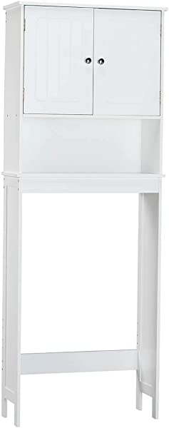 OakRidge Ambrose Collection White Bathroom Storage Cabinet Space Saving Organizational Furniture
